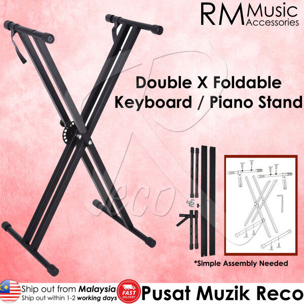 RM Foldable Portable Double X Keyboard Piano Stand Solid Heavy Duty Piano Keyboard Stand 7 Level Height Adjustable Malaysia