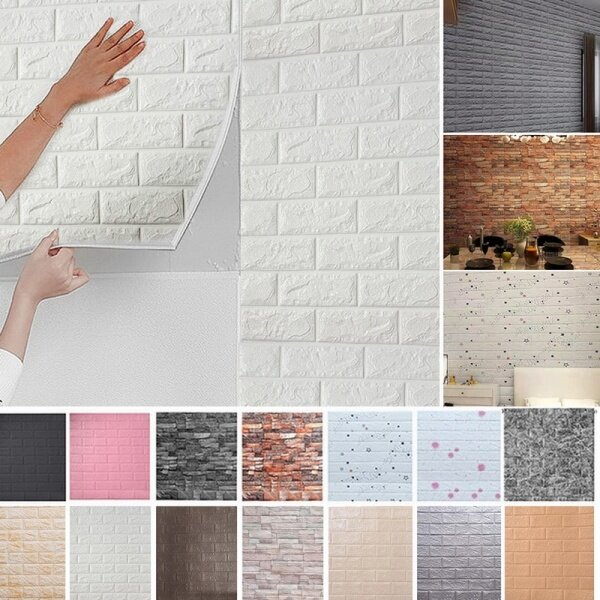 DIY 3D Wall Stickers Imitation Brick Bedroom Decoration Waterproof Self Adhesive Wallpaper For Living Room Kitchen