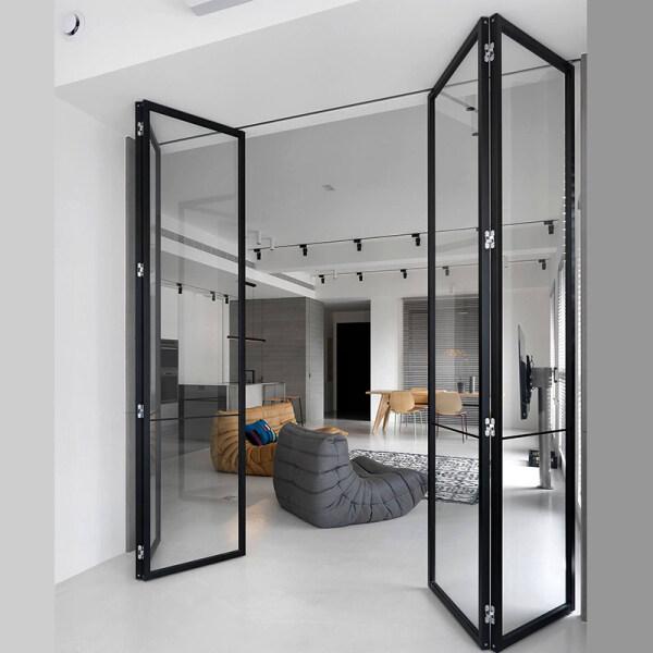 ♛ↂ◐  Aluminium alloy folding door crane rail sliding door bathroom toilet sitting room balcony kitchen door glass partition custom