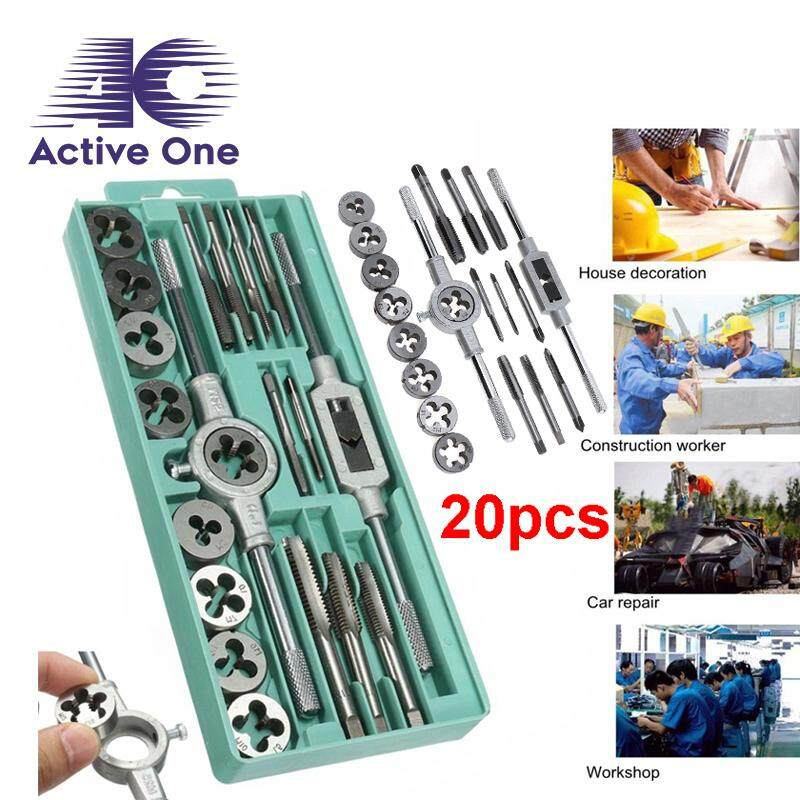 ActiveOne Screw Thread Hand Tap 20 Pcs Metric Tap Wrench and Die Pro Set M3-M12 Nut Bolt Alloy Metal Hand Tools - Fulfilled by ACTIVEONE