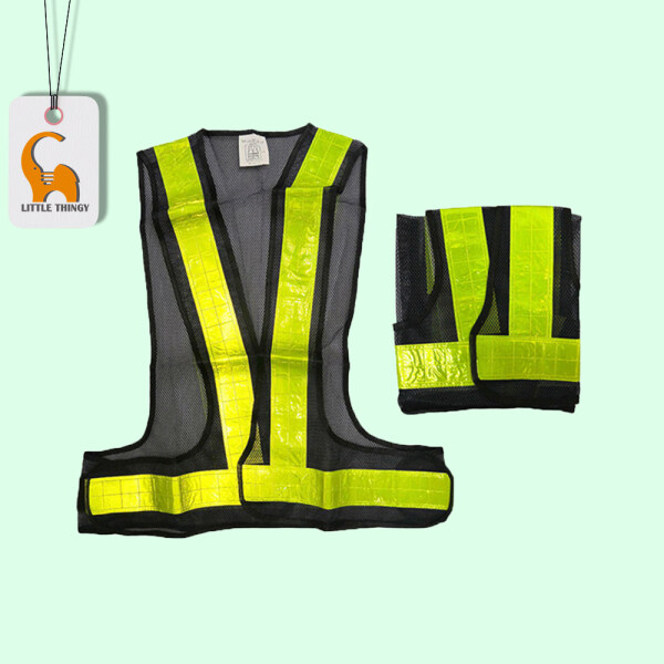 Reflective Safety Vest with V-Shape Reflective Strip and Black Fabric LittleThingy