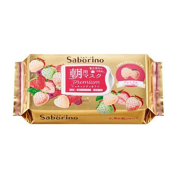 Saborino Premium Morning Face Mask White Strawberry 28 sheets