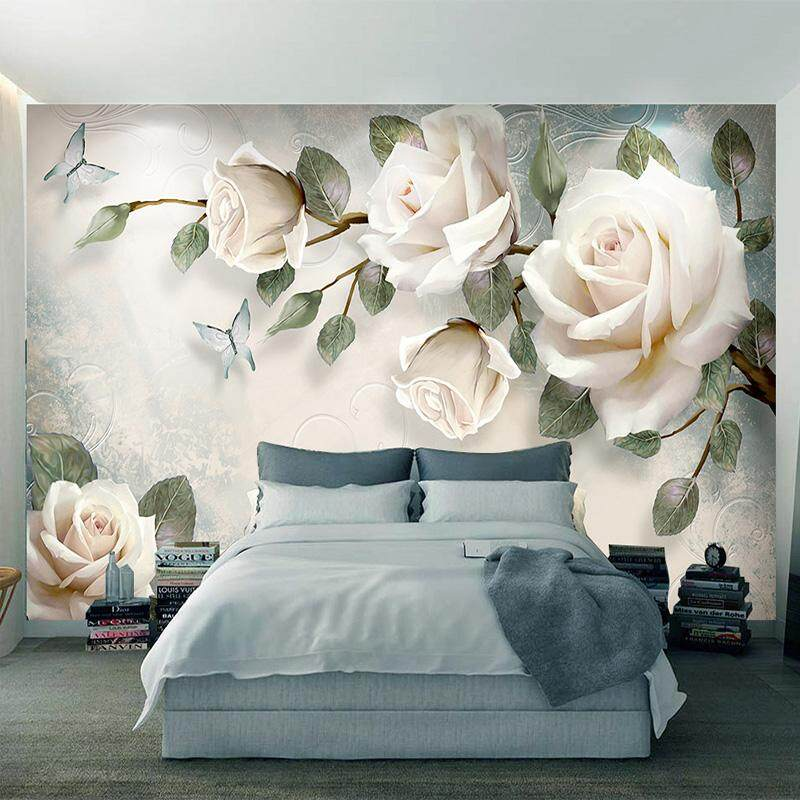 3D Wallpaper Vinyl Wall Sticker European White Flowers Oil Paintings Wall Mural Living Room Bedroom Luxury Decor Wall paper