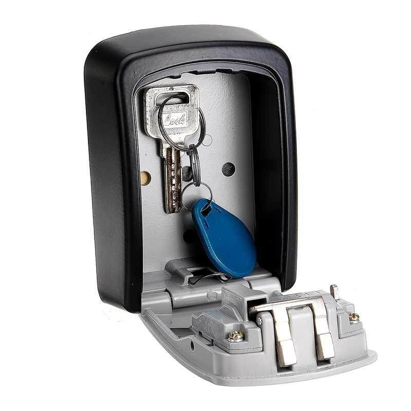 Qooiu Does Not Rust! Anti-Theft Wall-Mounted Key Storage Box With 4-Digit Combination Lock Metal Secret Safe
