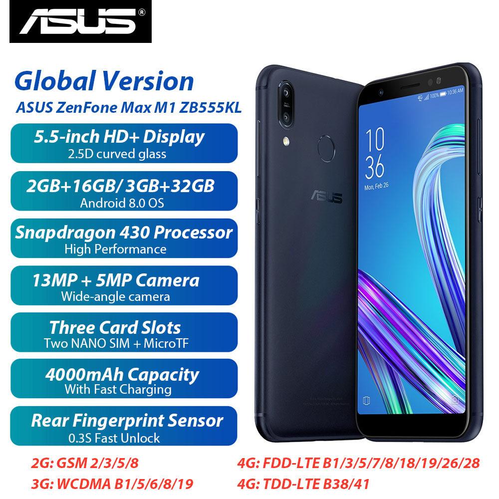 Phiên Bản Toàn Cầu Asus Zenfone Max M1 Zb555kl 4G Điện Thoại Thông Minh LTE 2GB+16GB/ 3GB + 32GB Android 8.0 Snapdragon 430 5.5Inch 4000 MAh 13MP Mở Khóa Vân Tay Điện Thoại Di Động Sim Kép Đang Ưu Đãi