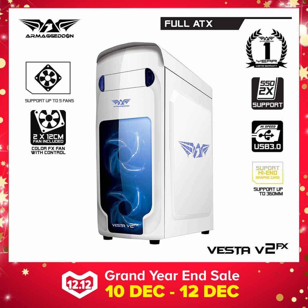 (12.12) Armaggeddon Vesta V2FX Full ATX Gaming PC Chassis (2 Fans Included) / Bundle Free Cooling Fan ( x3 ) Malaysia