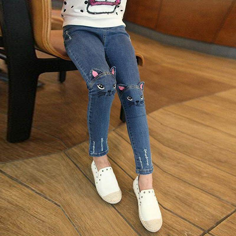 002085994 Children s New Style Girls Cowboy Pants Small Baby with Holes High-waisted Leggings  Fashion Cartoon