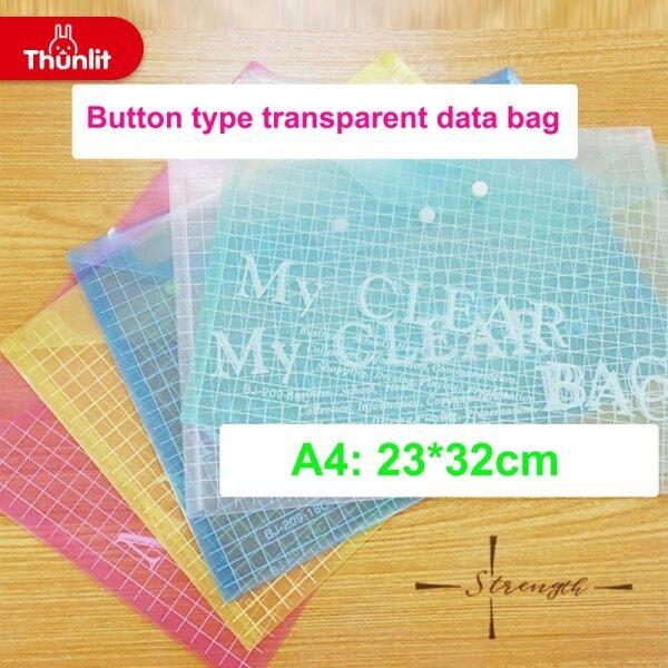 Mua Thunlit 10 cái Nút-Loại A4 trong suốt PVC File Bag với nút | lưu trữ túi xách | văn phòng tập tin túi | tập tin danh mục đầu tư
