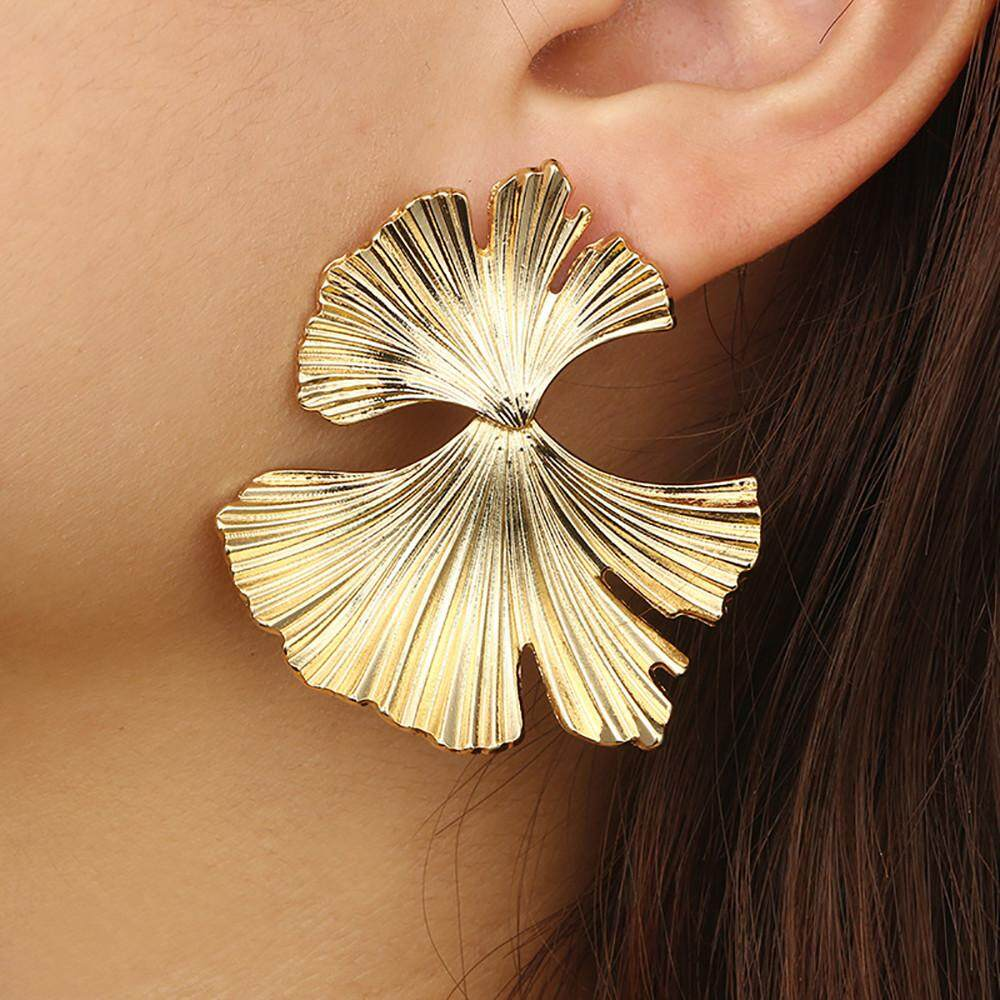 Beautier Women Vintage Fashion Creative Big Metal Flower Ginkgo Leaf Alloy Earrings By Beautier.