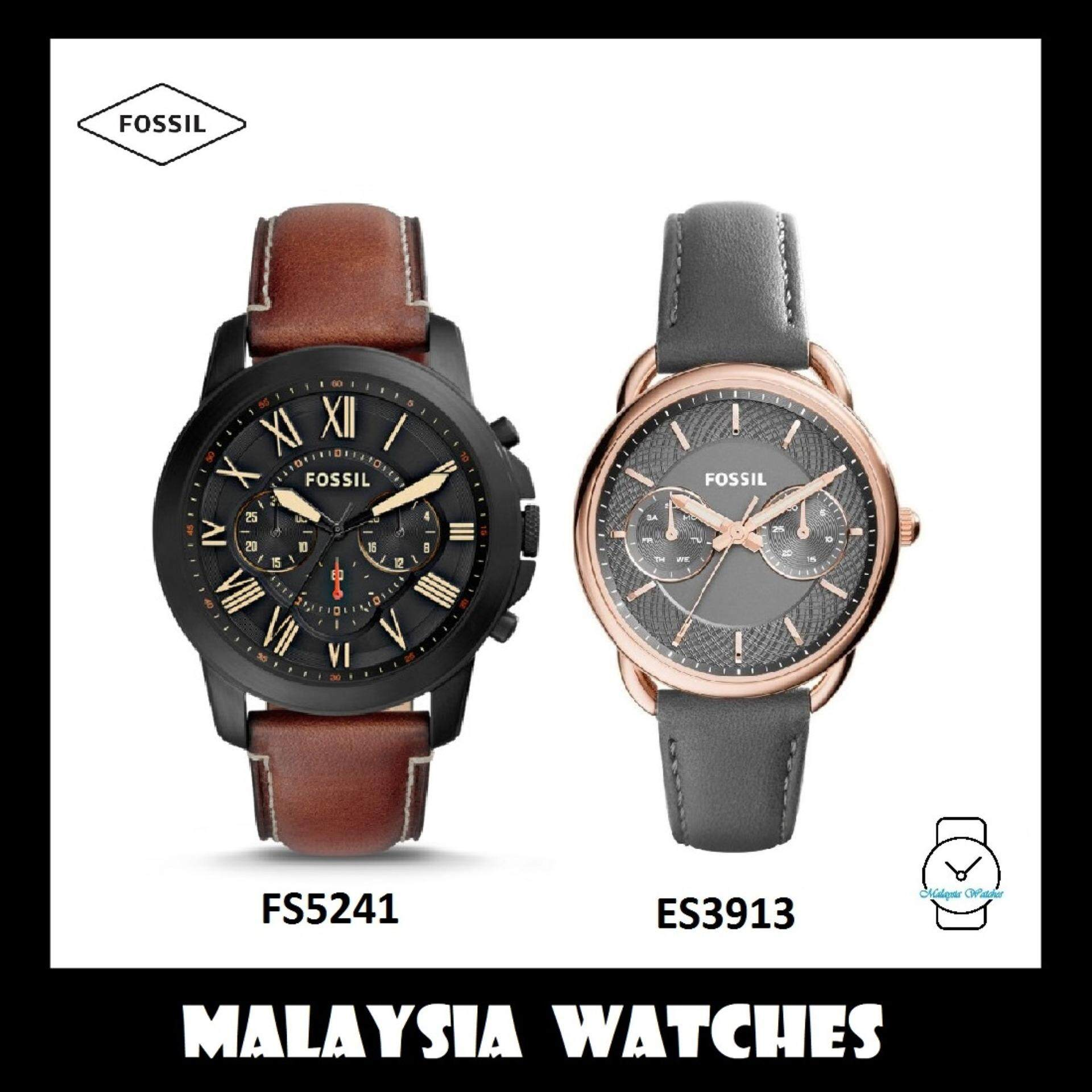 (OFFICIAL WARRANTY) Fossil Mens & Womens FS5241 & ES3913 Genuine Leather Watch Combo (100% Original) Malaysia