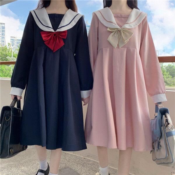 Phong Cách Đại Học Nhật Bản JK Jun Sinh Viên Mặc Váy Dài Tay Nữ