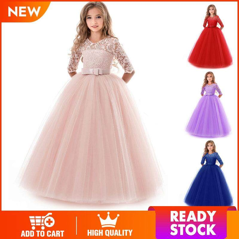8a75c02624b1 LS New Girls long sleeve flower mesh lace bow Show Formal Dresses gifts for  kids【