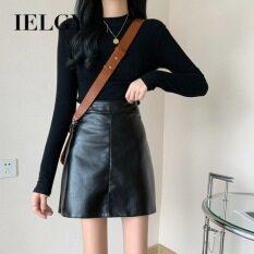 IELGY nữ thời trang Hàn Quốc váy chữ A da PU lưng cao kết hợp mỏng và váy ngang hông