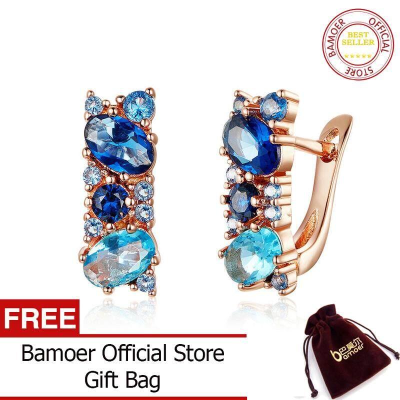 Bamoer New Trendy Blue Stone Zircon Earrings Rose Gold Stud Earrings For Women Fashion Jewelry Yie175 May.