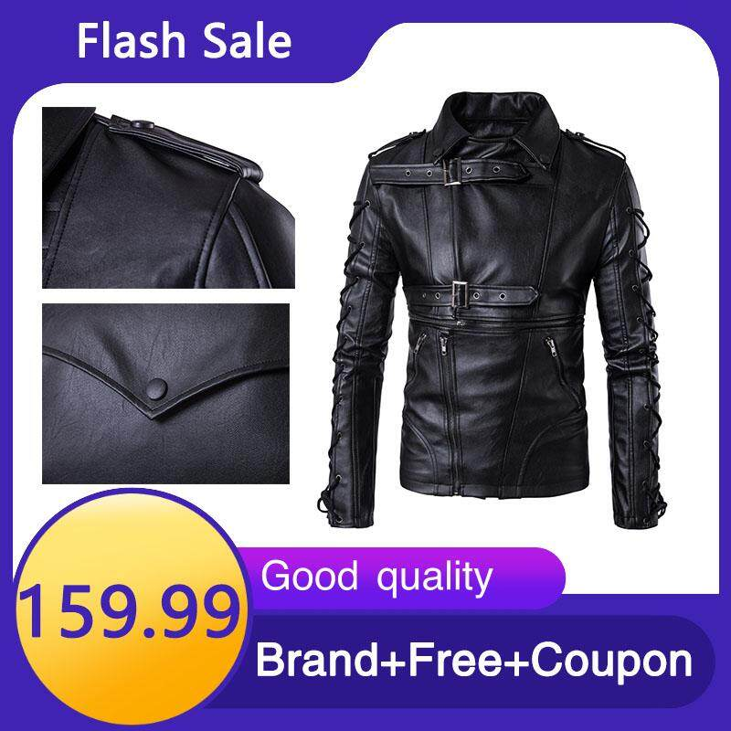 906ce926718 Men s Autumn Winter New Euro Code Motorcycle Leather Decadent Leather Coat  Pure Color Large Size Drawstring