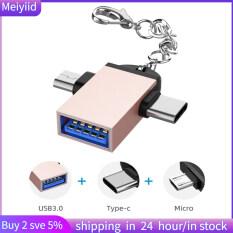 2 Chiếc Vỏ Hợp Kim Nhôm Bộ Chuyển Đổi 2 Trong 1 OTG Bộ Chuyển Đổi USB 3.0 Sang Micro USB Type C Có Dây Xích Cho Android
