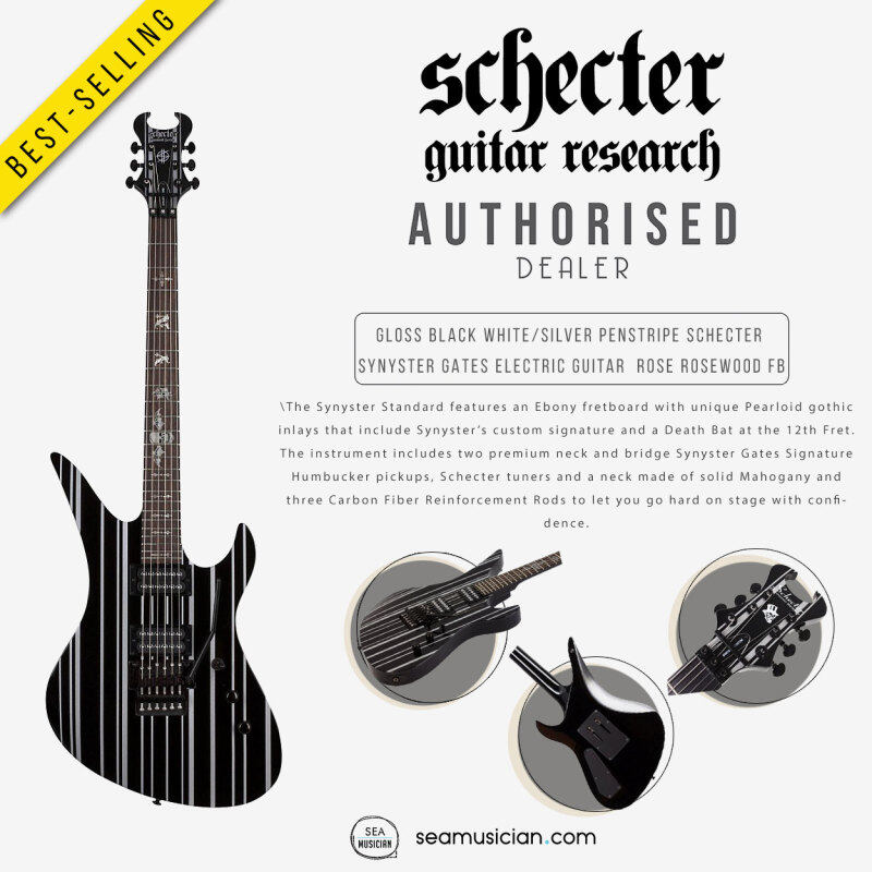 SCHECTER GLOSS BLACK WHITE/SILVER PENSTRIPE SYNYSTER GATES ELECTRIC GUITAR ROSE ROSEWOOD FINGERBOARD (ELECTRIC GUITAR/ GLOSS BLACK-SILVER/ SYNYSTER/ SEAMUSICIAN) Malaysia