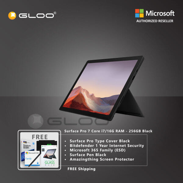 Microsoft Surface Pro 7 Core i7/16G RAM - 256GB Black - VNX-00025 + Surface Pro Type Cover [Choose Color] + Bitdefender 1 Year Internet Security + 365 Family (ESD) + Surface Pen [Choose Color] + Amazingthing Screen Protector Malaysia