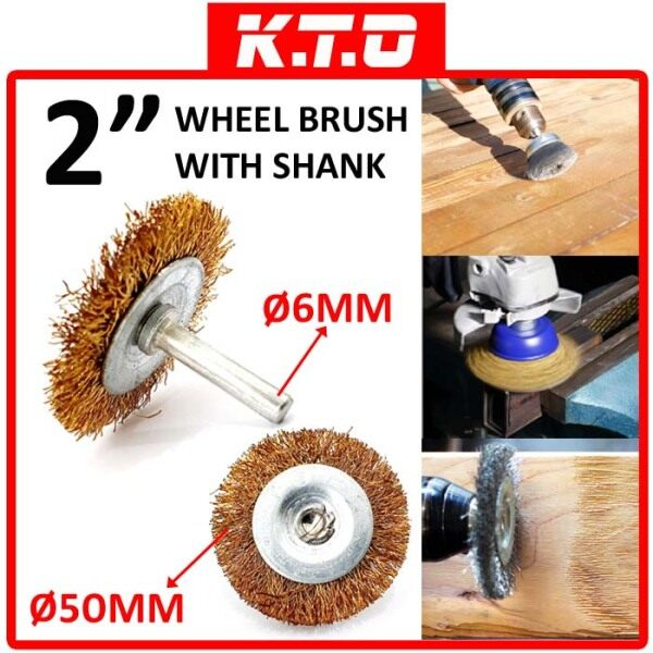 2 BRASS COATED DRILL WIRE CUP WHEEL BRUSH with SHANK ( RUST , CORROSION , PAINT REMOVER ) - B1-08-WB20