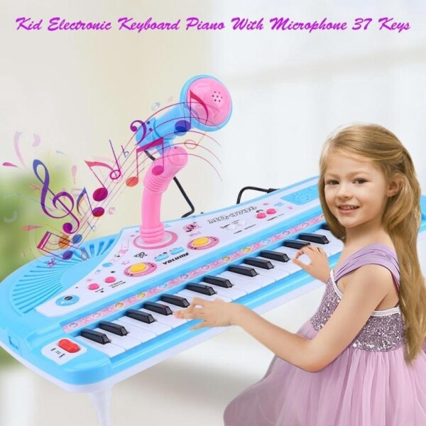 Blue Kids Electronic Keyboard 37 Key Piano Musical Toy  Microphone Malaysia