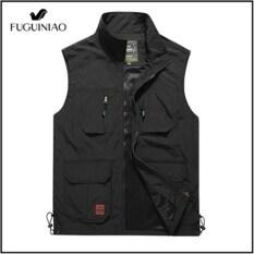 Áo gile nhiều túi fuguiniao cho nam, áo ghi lê cỡ lớn, mặc hàng ngày kiểu quân đội, không tay, M-5XL
