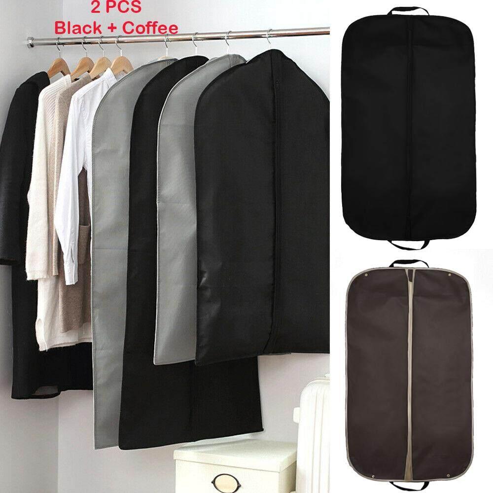 30a3405fac43 2 PCS Foldable Nonwoven Garment Suit Dress Jacket Clothes Cover Carrier Bag  with Handles Prevent Moths Dust Dirt 60 x 100cm Black + Coffee