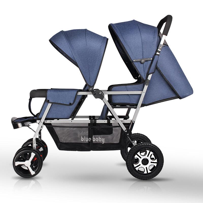 Twin Baby Stroller Double Baby Stroller Foldable Stroller Can Sit Can Recline Stroller Double Seat Pram Singapore