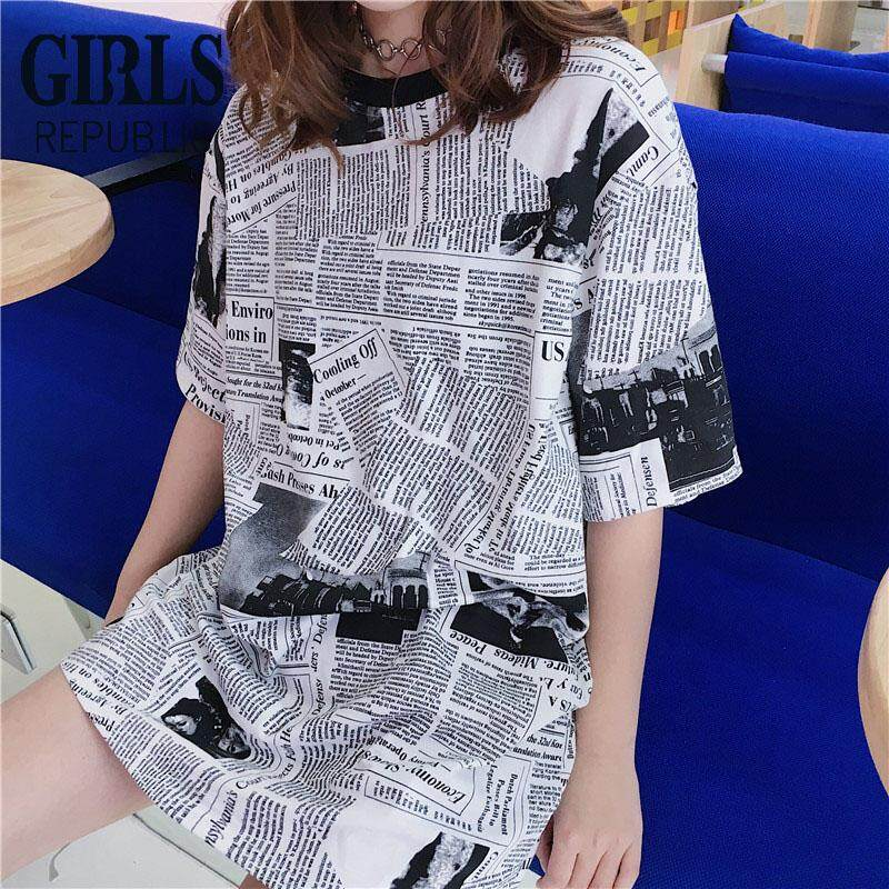 da25e65396c Girls Republic lowest price medium long newspaper printed short-sleeved T- shirt Harajuku style