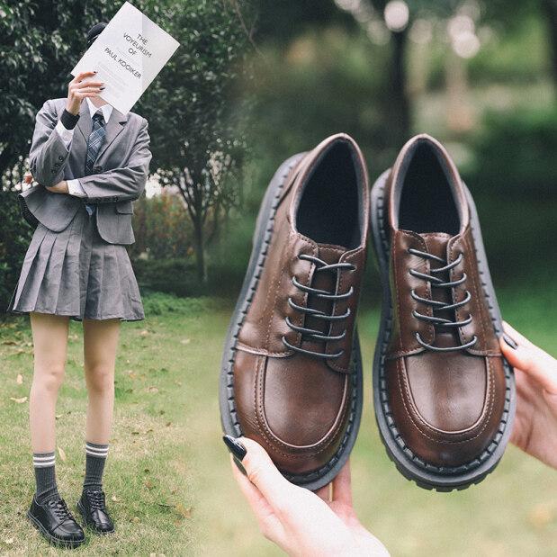 SOXGA Giày Oxford Cho Nữ Giày Đế Bệt Phong Cách Anh Quốc Giày Thường Ngày Màu Nâu Cổ Điển Màu Đen Đối Với Phụ Nữ giá rẻ