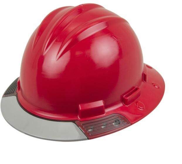 Bullard (AVRDBG) AboveView Full Brim Hard Hat - Ratchet Suspension - Red - Grey Visor