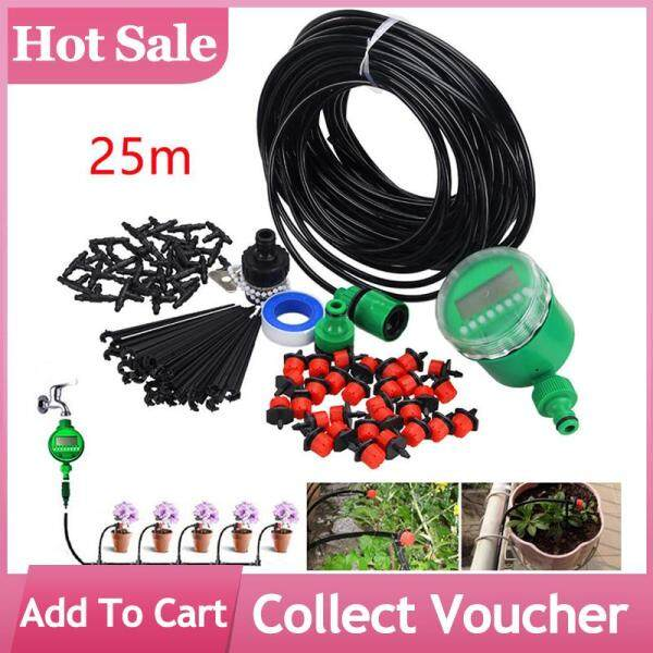 25m Plant Self Watering Garden Hose DIY Micro Drip Irrigation System with Timer Kits