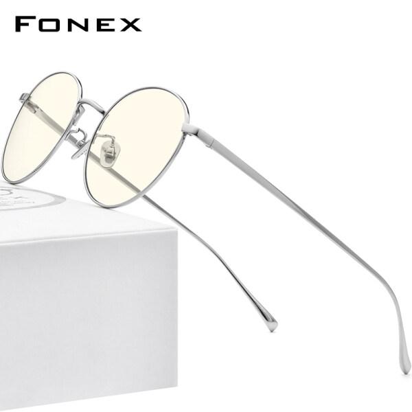 Giá bán Kính Chống Ánh Sáng Xanh Titan FONEX Dành Cho Nữ Và Nam Kính Mắt Tròn Hoài Cổ, Bộ Lọc UV 2020 Kính Mắt Chống Tia Bức Xạ Ánh Sáng Xanh Bảo Vệ Mắt Chơi Game Trên Máy Tính 30014
