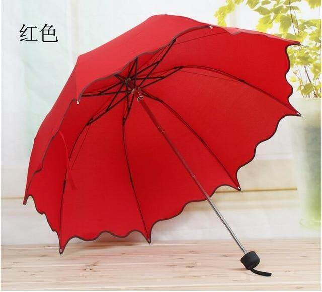 For Women Rain Umbrella 4 Folding Female Umbrellas Handle Comfortable Strongly Brand Princess Craft 86CM Outdoor Travel