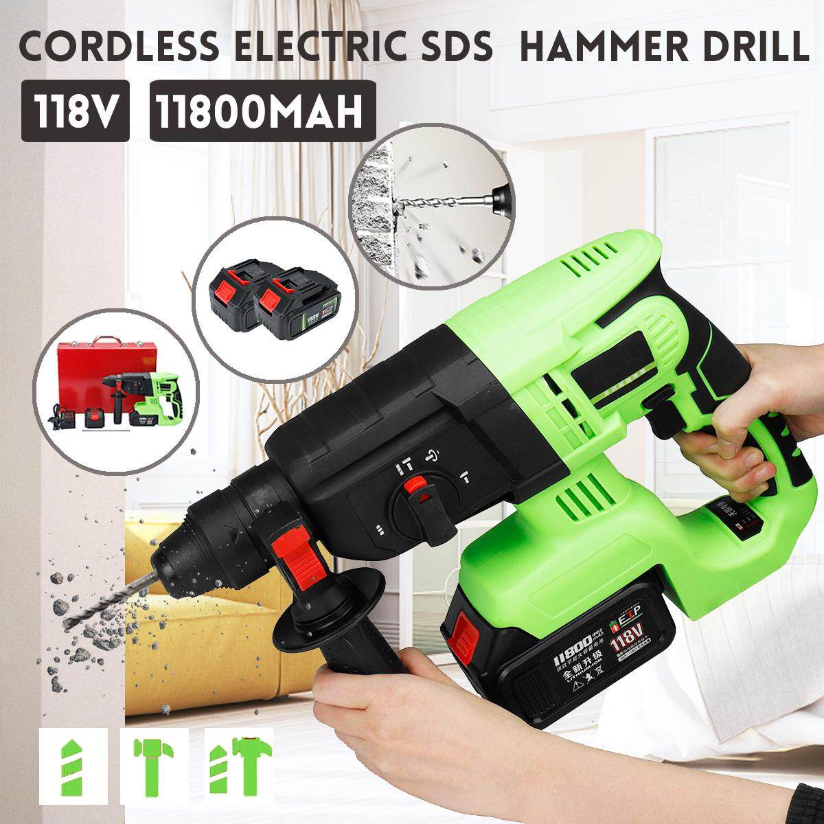 118V Cordless Electric SDS Hammer Drill 11800mAh 4-Groove
