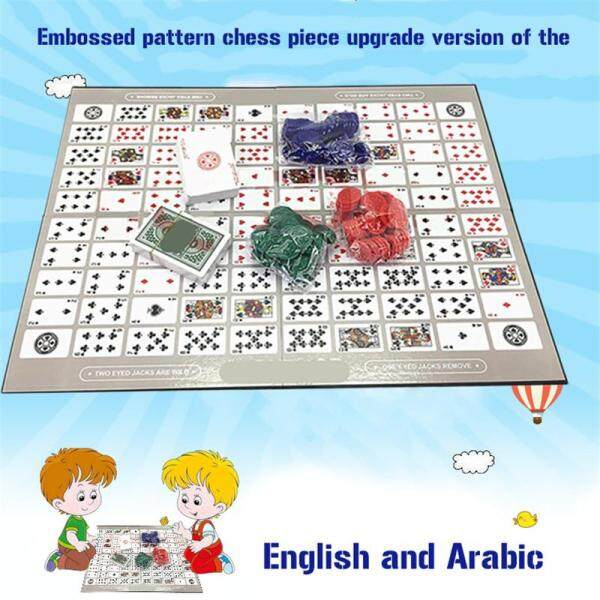Table Game Pattern Big Chess Board Game English and Arabic Sequence Game Chess Family Game Toy