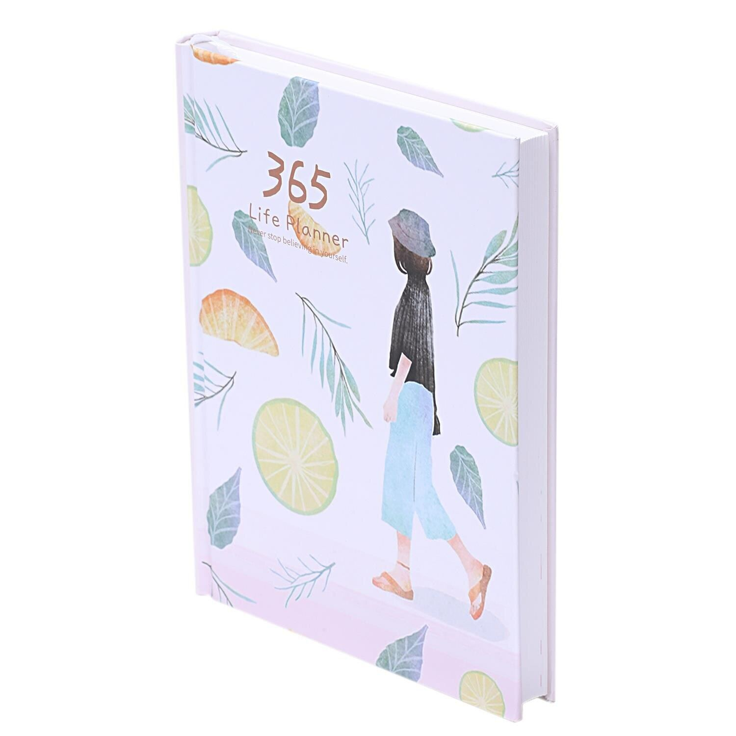 HOT-Creative Hardcover Year Plan Notebook 365 Days Inner Page Monthly Daily Planner Organizer Diary Leaves&Lemon
