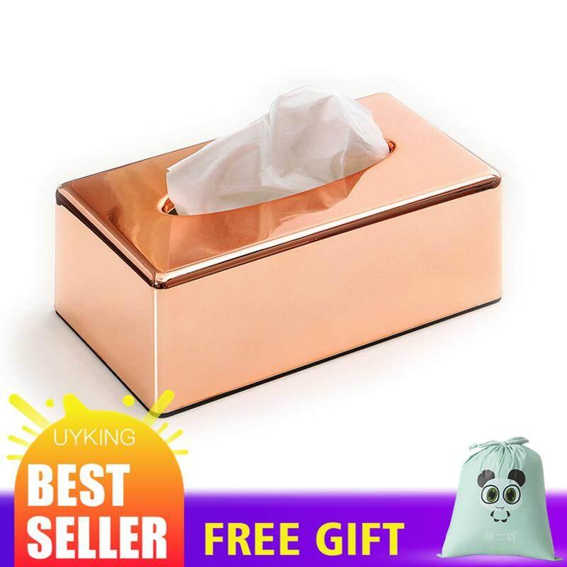 Paper Rack Elegant Royal Rose Gold Car Home Rectangle Shaped Tissue Box Container Towel Napkin Tissue Holder Tissue Box 001