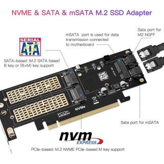Thẻ Chuyển Đổi M.2 NVMe NGFF Sang Pci-E 4X 3 Trong 1 Thẻ Mở Rộng Khóa B + M MSATA thumbnail