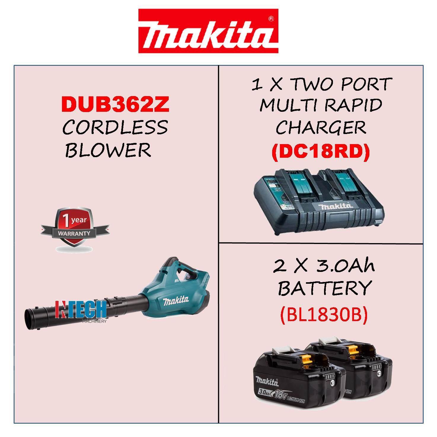 MAKITA DUB362Z CORDLESS BLOWER C/W 2 X 3.0Ah BATTERY, 1 X TWO PORT MULTI RAPID CHARGER