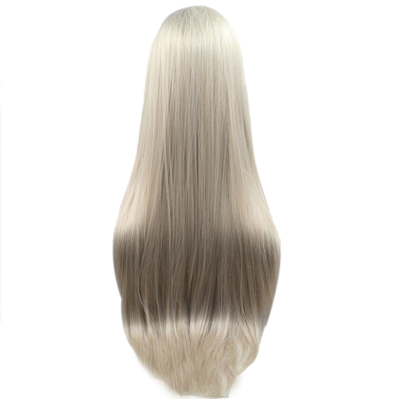 Front Lace Wig Long Straight Hair Wig Hair Styling High Temperature Fiber Synthetic Wig 24Inch cao cấp