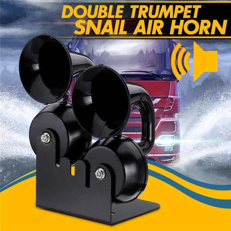 【Free Pengiriman + Flash Deal】130db 12 V 130Hz Double Terompet Siput Klakson Angin Kereta Mobil/Truk/Bus/Bus Van keras Hitam