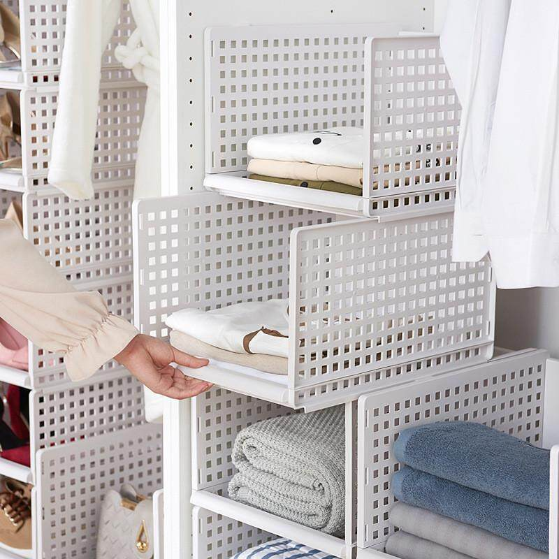 1 piece Detachable Household Drawer Wardrobe Organizer Shelf Clothes Storage Basket Compartment Plastic Hollow Drawer Layered Partition
