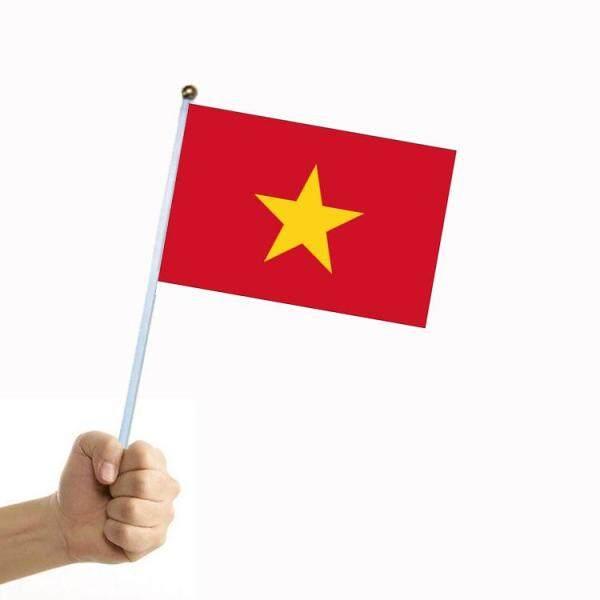 20 Lá Cờ Việt Nam Có Cột Cờ Biểu Ngữ 8 14*21 Cm Hoa Văn Hai Mặt Bằng Polyester