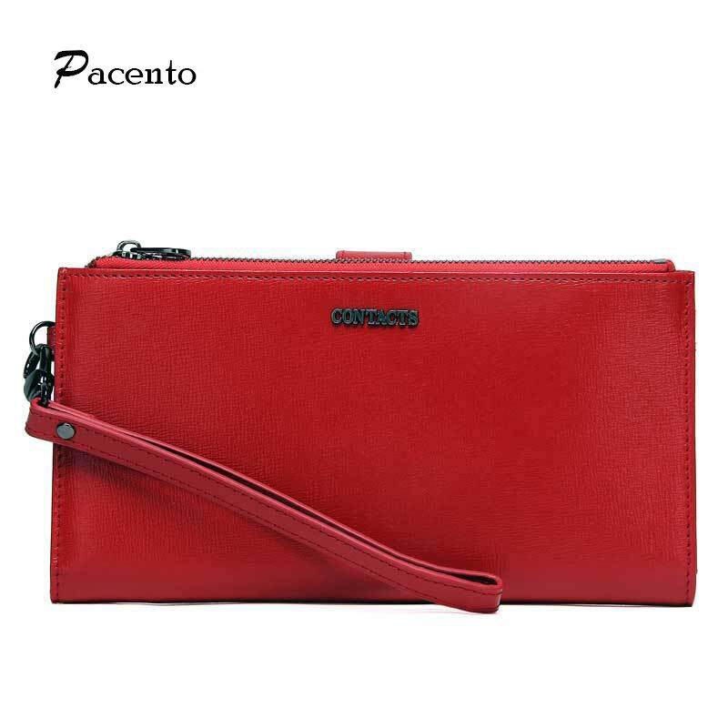 Pacento Luxury Genuine Leather Clutch Bag Women Wallet Multi-function Double Zipper Long Wallet with