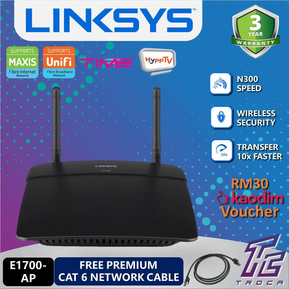 Linksys E1700-AP N300 Gigabit Wireless WiFi Router for UNIFI , TIME with Gigabit Ethernet Ports - Free Cat6 Network Cable x1 (While Stock Last)