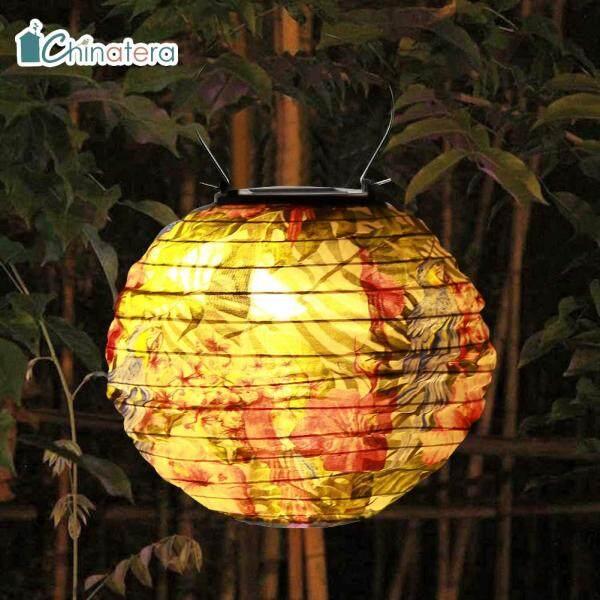 [Chinatera] Đèn LED Năng Lượng Mặt Trời Không Thấm Nước 20 Cm Đèn Lồng Trung Quốc Vườn Ngoài Trời Tiệc Nghỉ Lễ Đám Cưới Lá Xưa Hoa In Tròn Trang Trí Đèn Treo