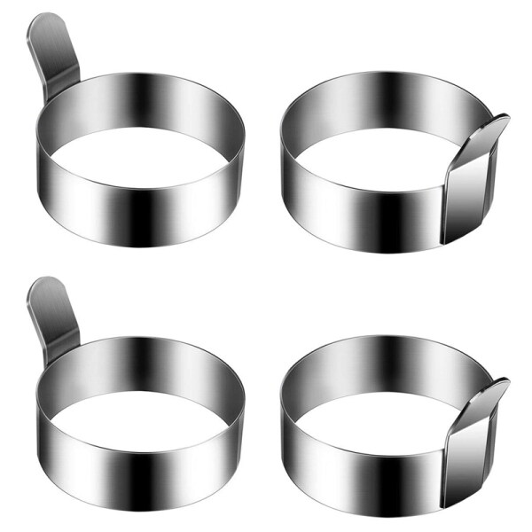 4 Pieces 3.5 inchStainless Steel Round Pancake Ring Egg Ring, Non-Stick Omelette Mold, Pancake Making Mold, Breakfast Egg Sandwich Pan