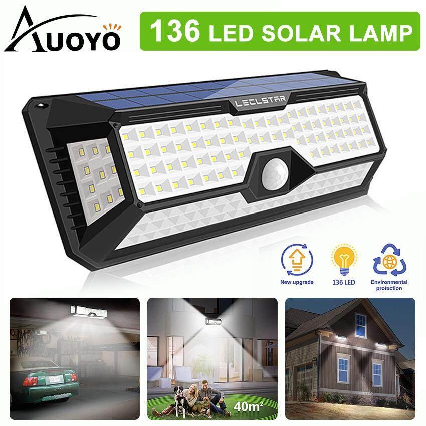 Auoyo 136 LED Solar Lights Outdoor Lighting Wireless Sensor Lamp of 4 Sides with Wide Lighting Area Waterproof Security Lights Super Bright for Front Door Garden Street Yard