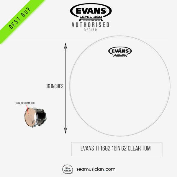 EVANS TT16G2 16 INCH G2 CLEAR TOM BATTER DRUM HEAD (TT16G2/ DRUMHEAD/ DRUMSKIN/ SEAMUSICIAN) Malaysia