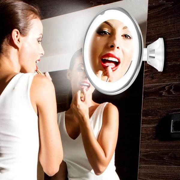 Dưới Cốc Hút Quầy Phòng Tắm Áp Dụng Được Hấp Phụ 10x Ống Kính 18LED Kosmetikspiegel Rasier LED Schminkspiegel 10-fach Vergrößerung Beleuchtung Chiếu Sáng Điền Vào Ánh Sáng 360 Độ Xoay giá rẻ